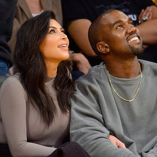Kim Kardashian and Kanye West at Lakers Game