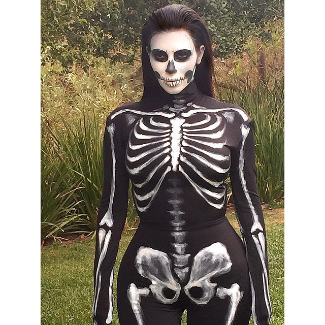 One of Kim Kardashian's 2014 costumes was a sexy skeleton.