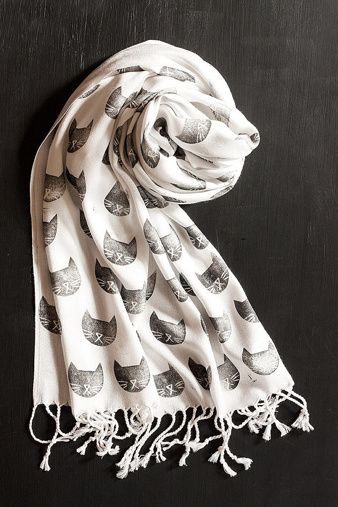 Cat-Stamped Scarf