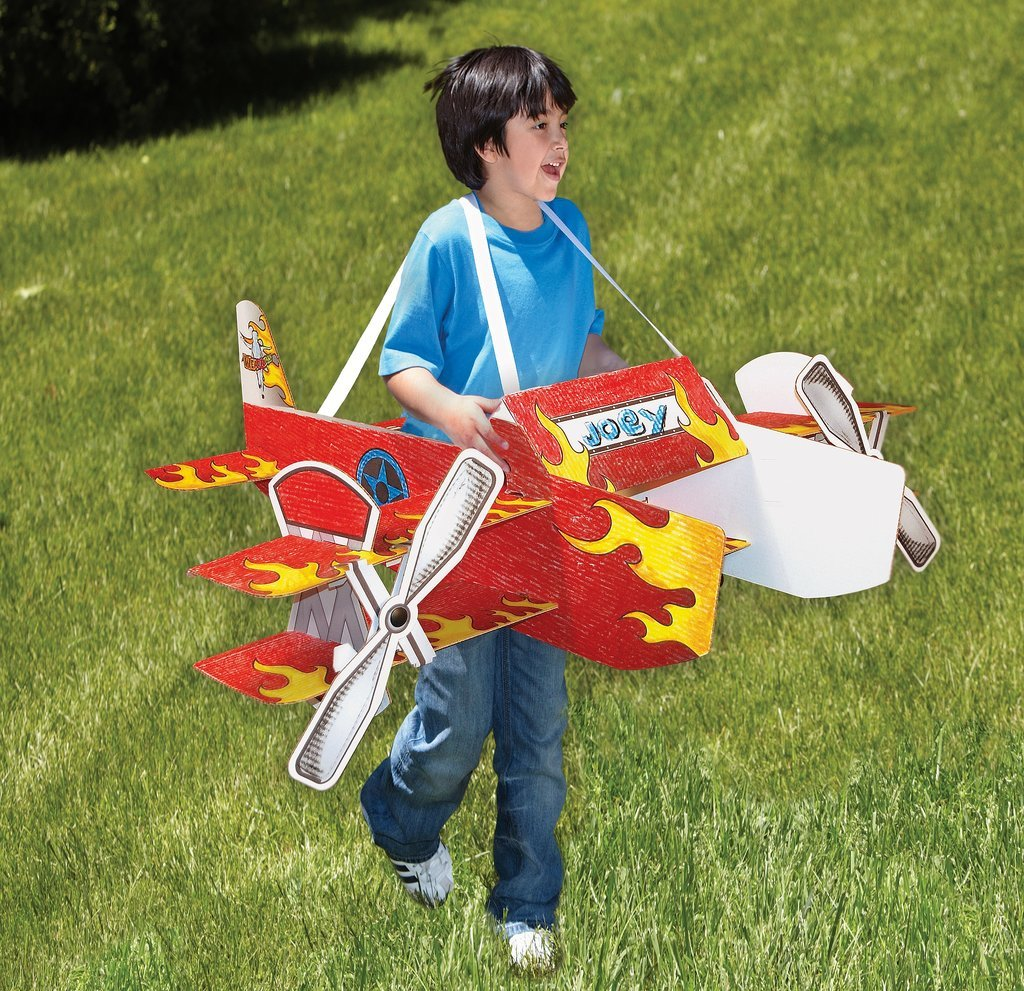 Wearables Stunt Plane USA Corrugated Construction Role Play Toy