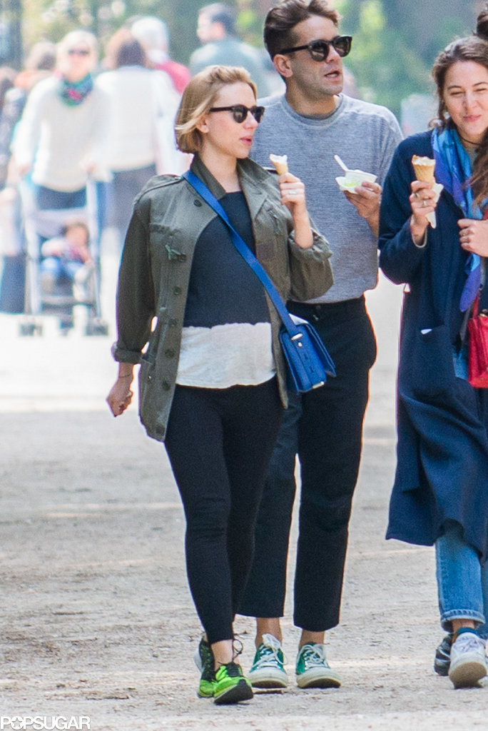 Scarlett's growing baby bump was on display in Paris in May 2014.