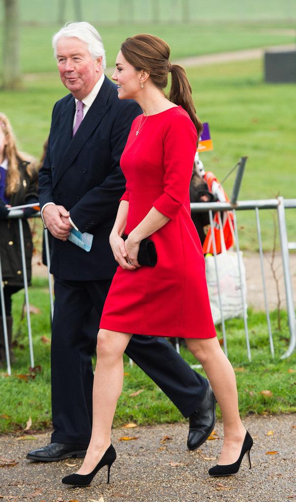 Kate Middleton Pregnant Style Red Dress 2014 Popsugar Fashion
