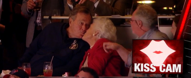 George H. W. Bush Reacts to Being Put on the Kiss Cam Like a Pro