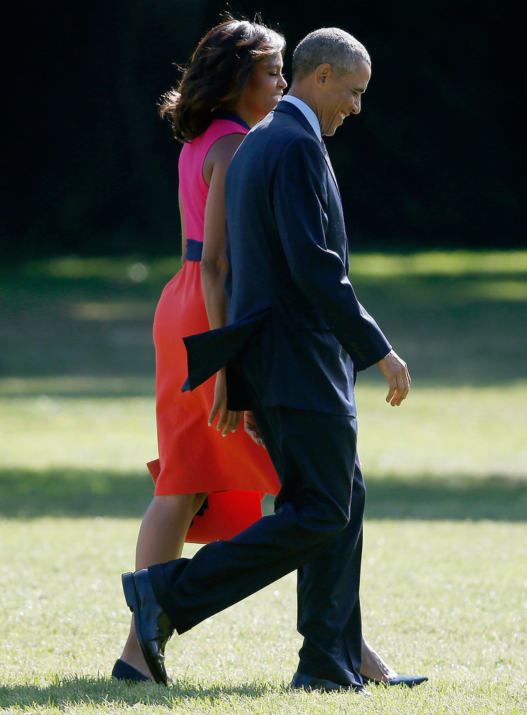 President Obama and First Lady Michelle Obama flashed big grins when they headed out of DC in September.