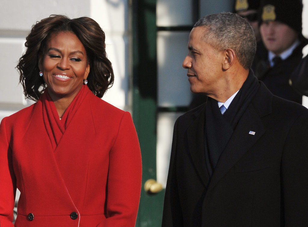 Michelle smirked at President Obama during an official ceremony in February.