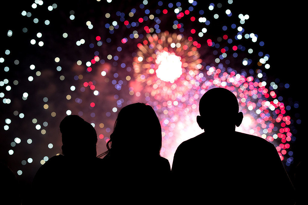 The Obama family watched the Fourth of July fireworks together from the roof of the White House.