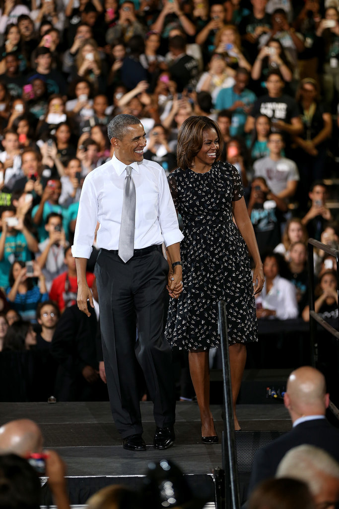 President Obama and First Lady Michelle Obama smiled at the crowd during an event at a Miami high school in March.