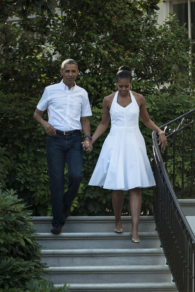 The Obamas sported coordinating white outfits for the Fourth of July.