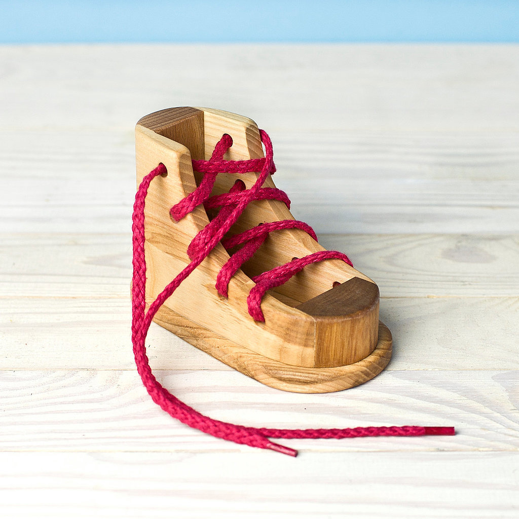 Wooden Toy Gallery Lacing Shoe Montessori Toy ($15)