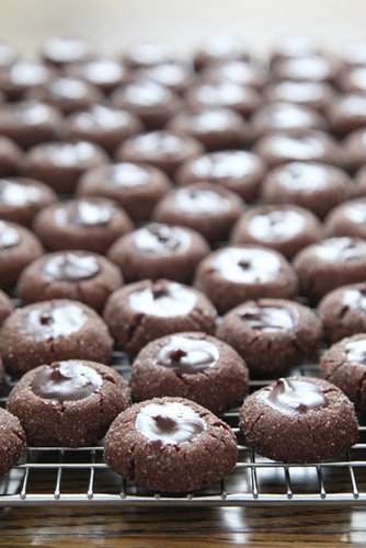 Chocolate Ganache Thumbprint Cookies