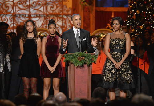 Malia, Sasha, Barack, and Michelle Channeled the Holiday Season