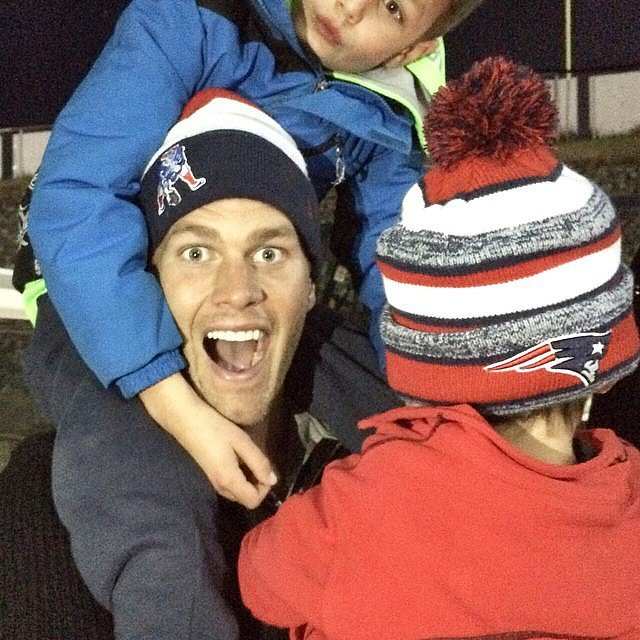 Ben and jack brady celebrated the patriots win with their dad tom