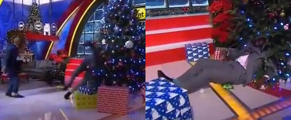 Shaq Got Shoved Into a Christmas Tree on Live TV For Some Reason