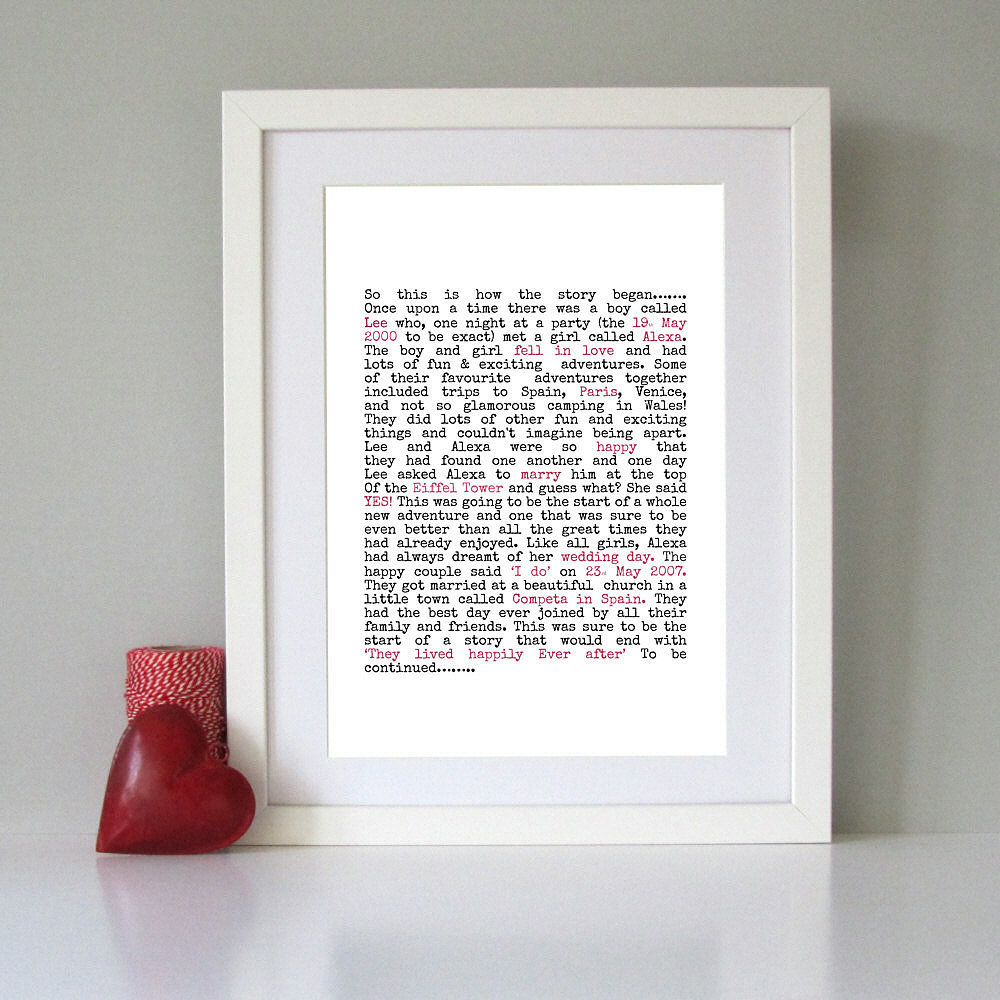 Personalized love story ($39)