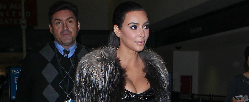 Kim Kardashian Wore a Bedazzled Dress and Balmain Booties Through Airport Security
