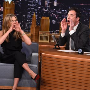 Jennifer Aniston Playing Lip Flip With Jimmy Fallon Video