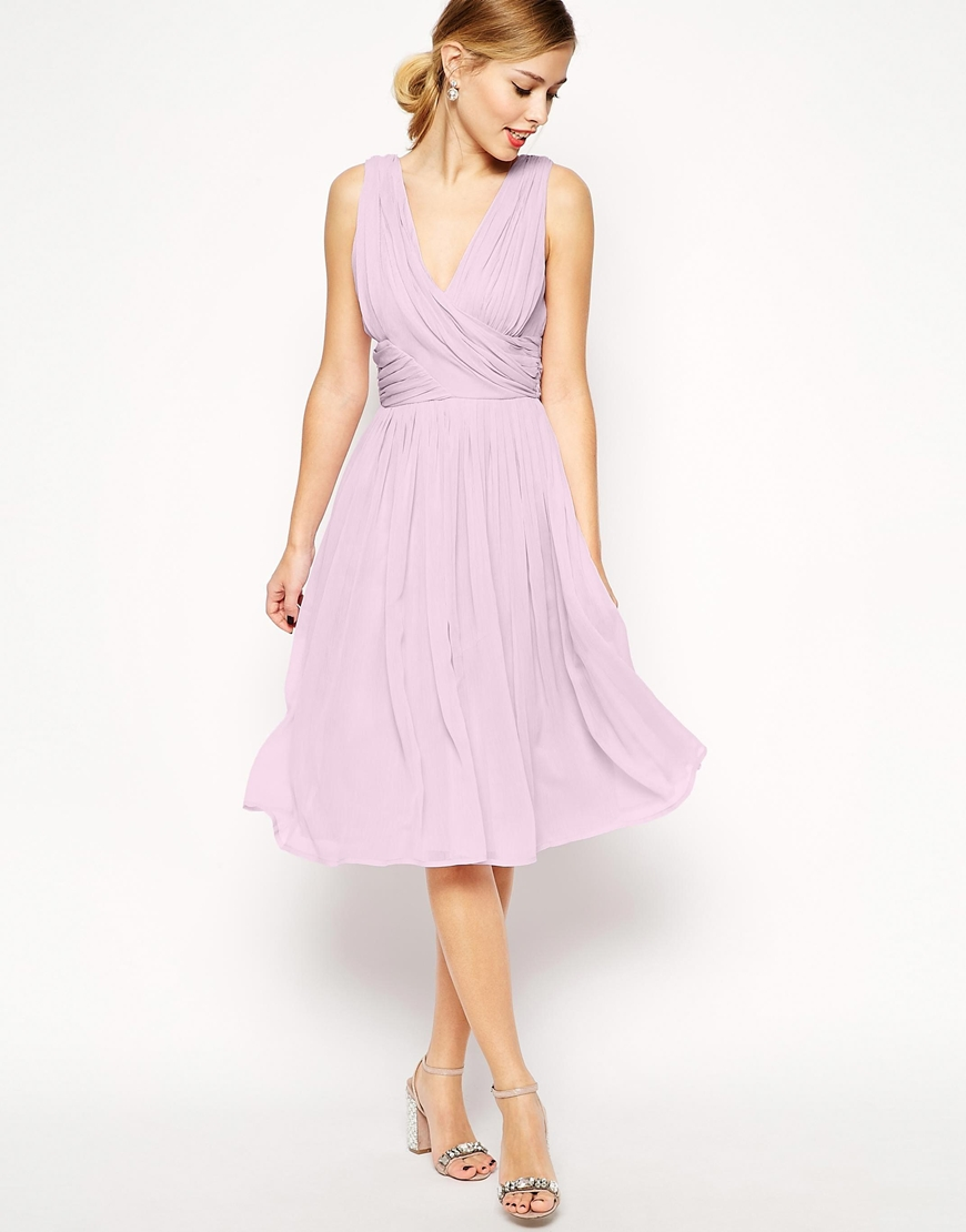 ASOS Lilac Midi Dress With Twist Wrap (£55) | 50 High ...