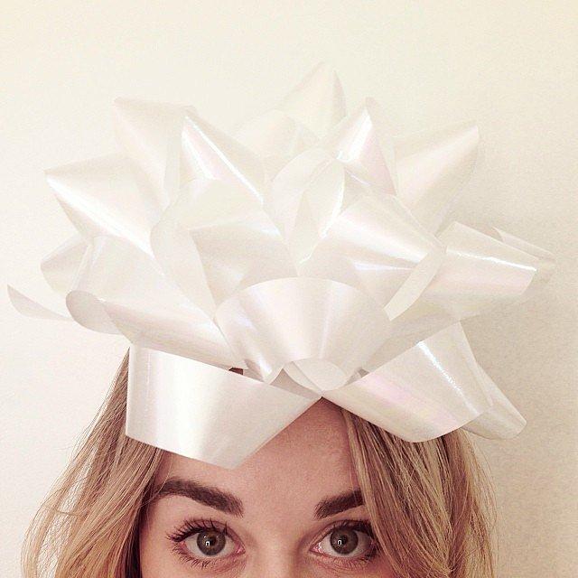 She put a bow on to celebrate a few birthdays.