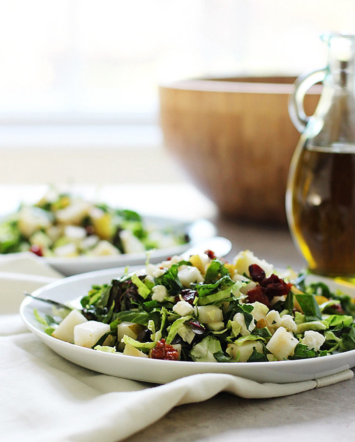 Chopped Brussels Sprouts, Kale, and Chard Salad With Candied Pancetta, Pears, and Blue Cheese