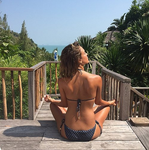 Coconut water helps Jessica Alba stay hydrated during her sunny yoga sessions.