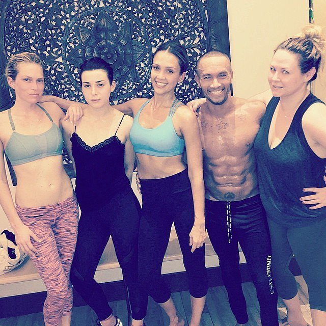 Jessica Alba made time for some hot yoga with friends at Hot 8 Yoga this week.