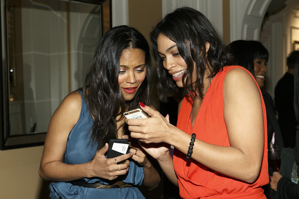 Rosario Dawson caught Zoe Saldana's attention at the Oscar's Sistahs Soiree at the Beverly Wilshire Hotel.