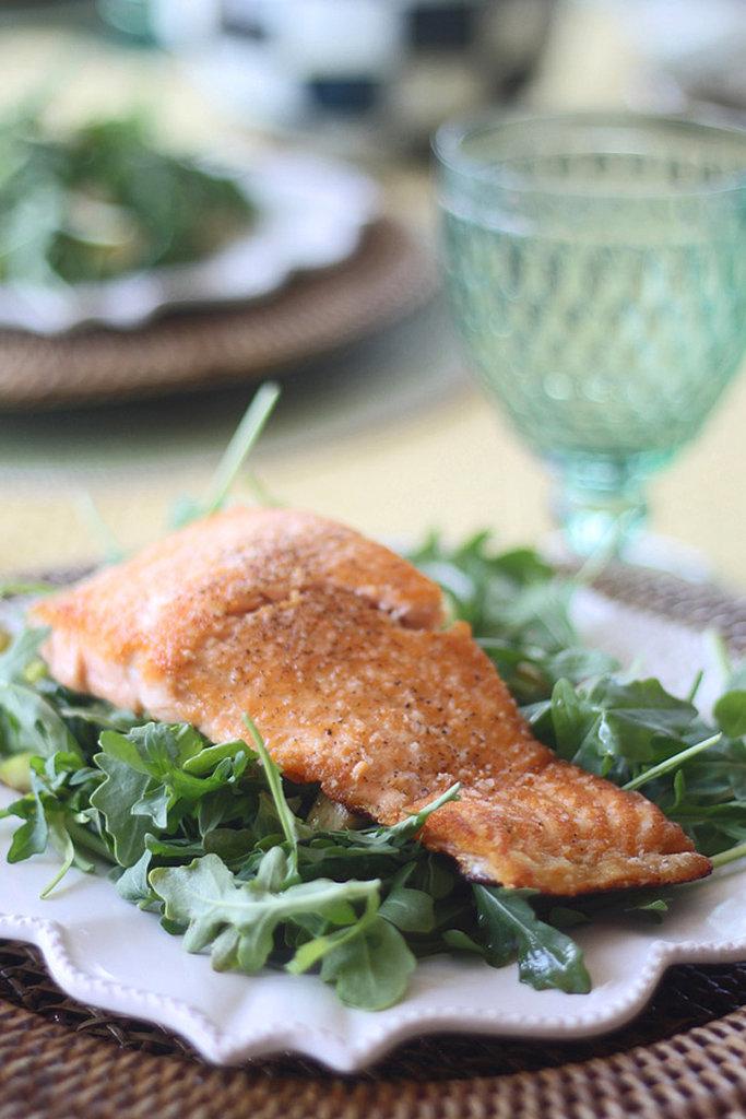 Pan-Seared Salmon With Arugula, Zucchini, and Asparagus