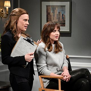 Dakota Johnson Fifty Shades of Grey Junket Skit on SNL