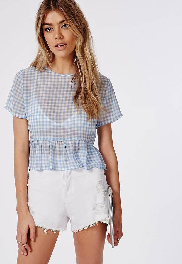 Missguided Gingham Chiffon Peplum Shell