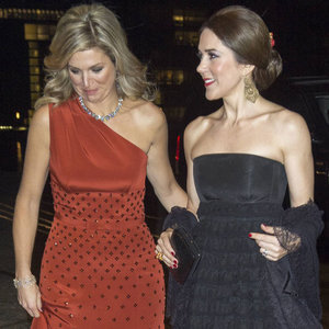 Princess Mary and Queen Maxima in Black and Red Dresses