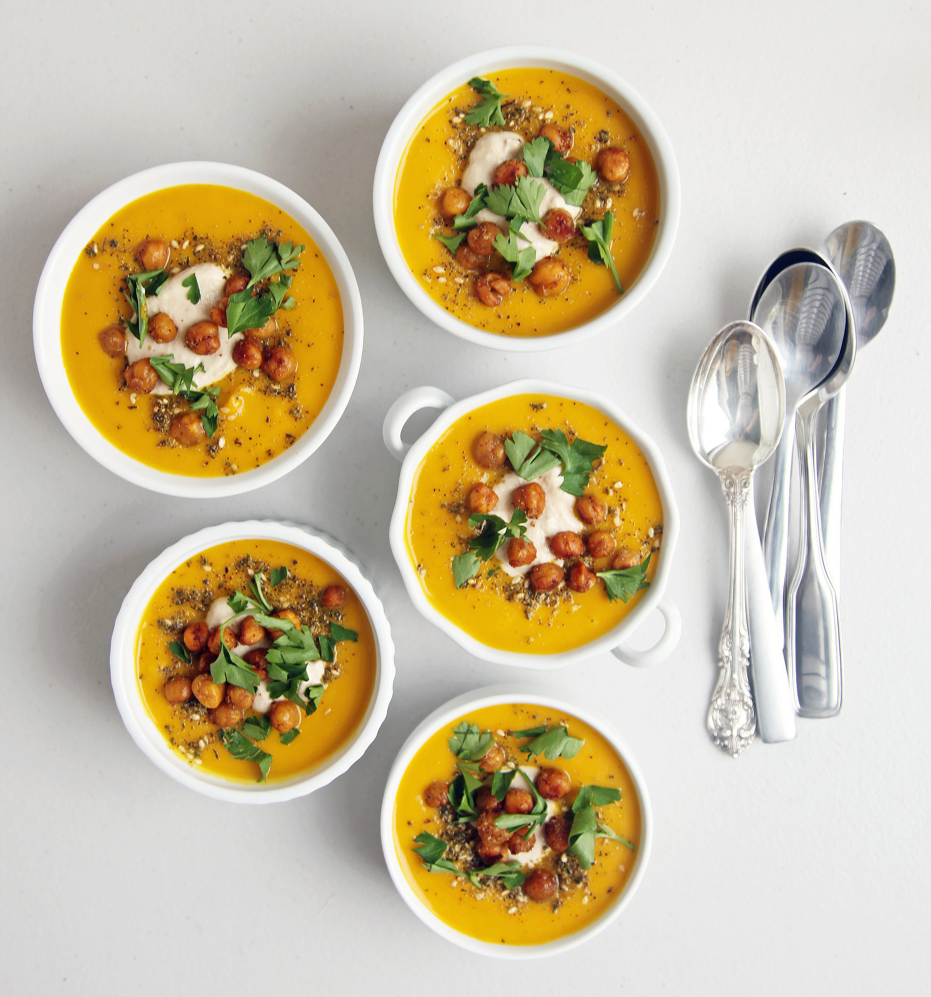 Spiced Carrot Soup With Roasted Chickpeas