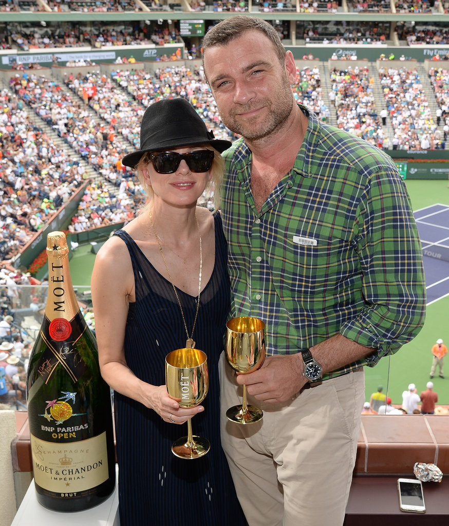 Naomi Watts and Liev Schreiber sipped on Champagne at the BNP Paribas Open in Indian Wells, CA, on Sunday.