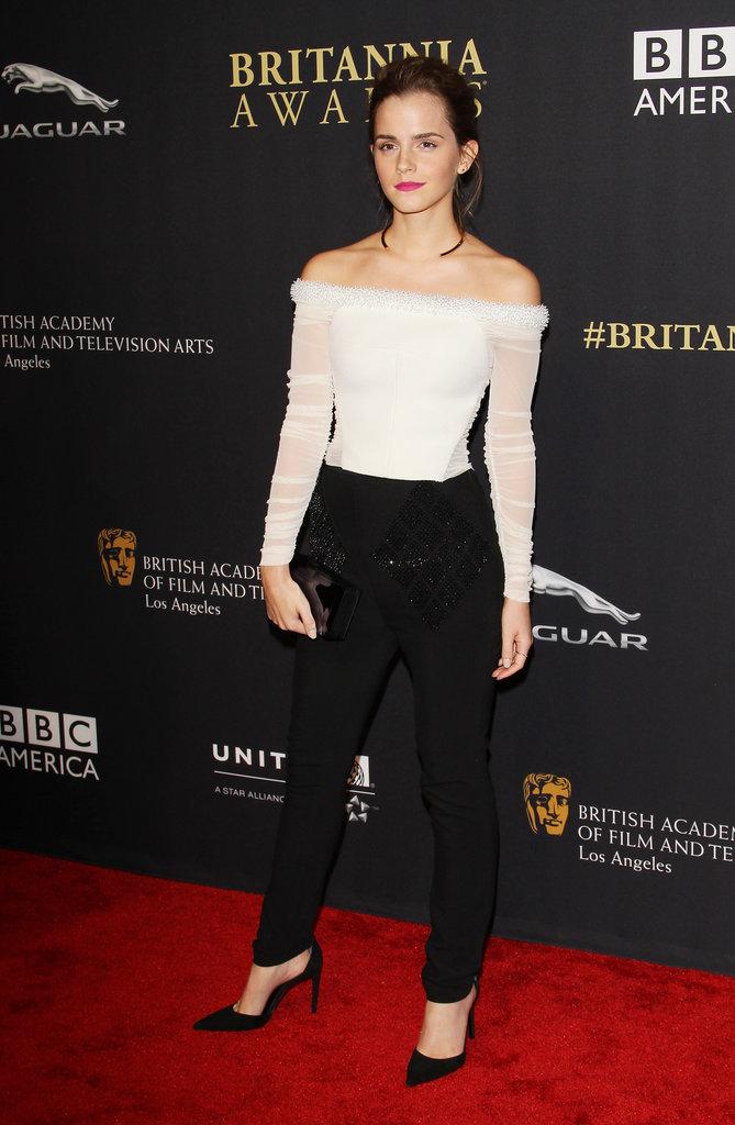 Emma Watson in Balenciaga at the BAFTA Los Angeles Britannia Awards