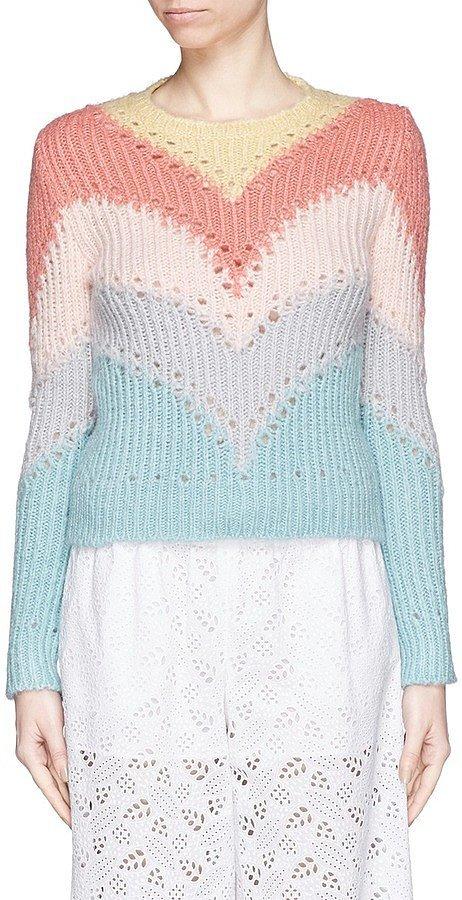 Valentino Pastel Chevron Rainbow Sweater