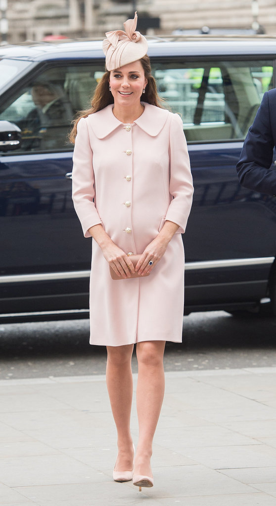 Kate paired her pearl-adorned Alexander McQueen coat with a Jane Taylor headpiece at Commonwealth Service at Westminster Abbey in March 2015.