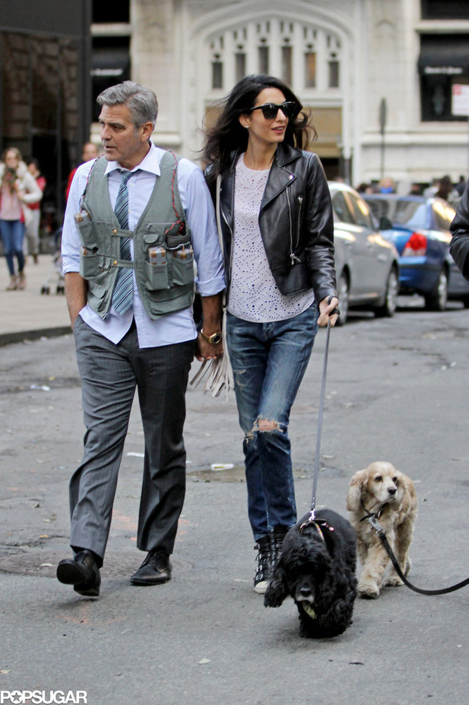 Amal and EINSTEIN!!! (and a blonde pooch) visit George on set, 4-12-15 Amal-Alamuddin-Visits-George-Clooney-Set-His-Dog
