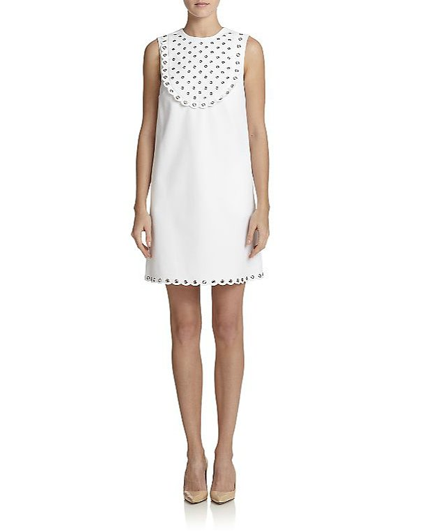 RED Valentino Poplin Grommet Shift Dress ($895)
