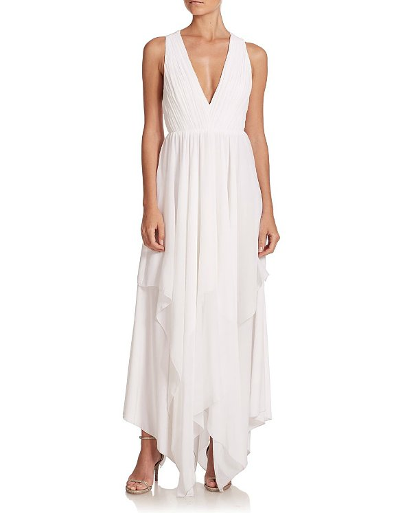 Alice + Olivia Mya Criss Cross-Back Gathered Chiffon Maxi Dress ($495)