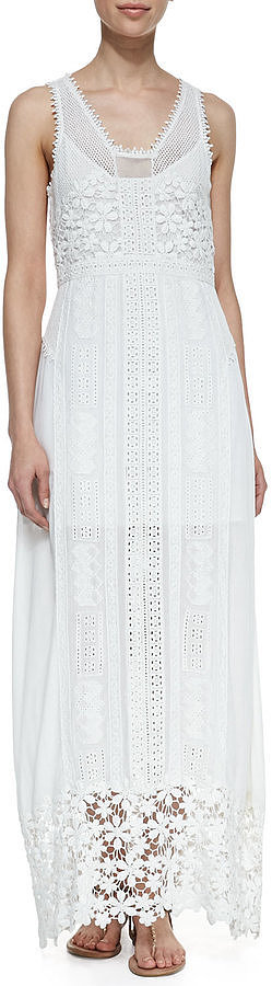 Yoana Baraschi Sleeveless Eyelet & Lace Maxi Dress ($408)