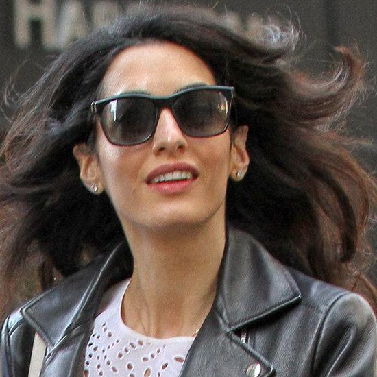 Amal Clooney Wearing Balenciaga Leather Jacket