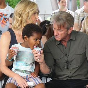 Charlize and Jackson Theron With Sean Penn at LA Block Party