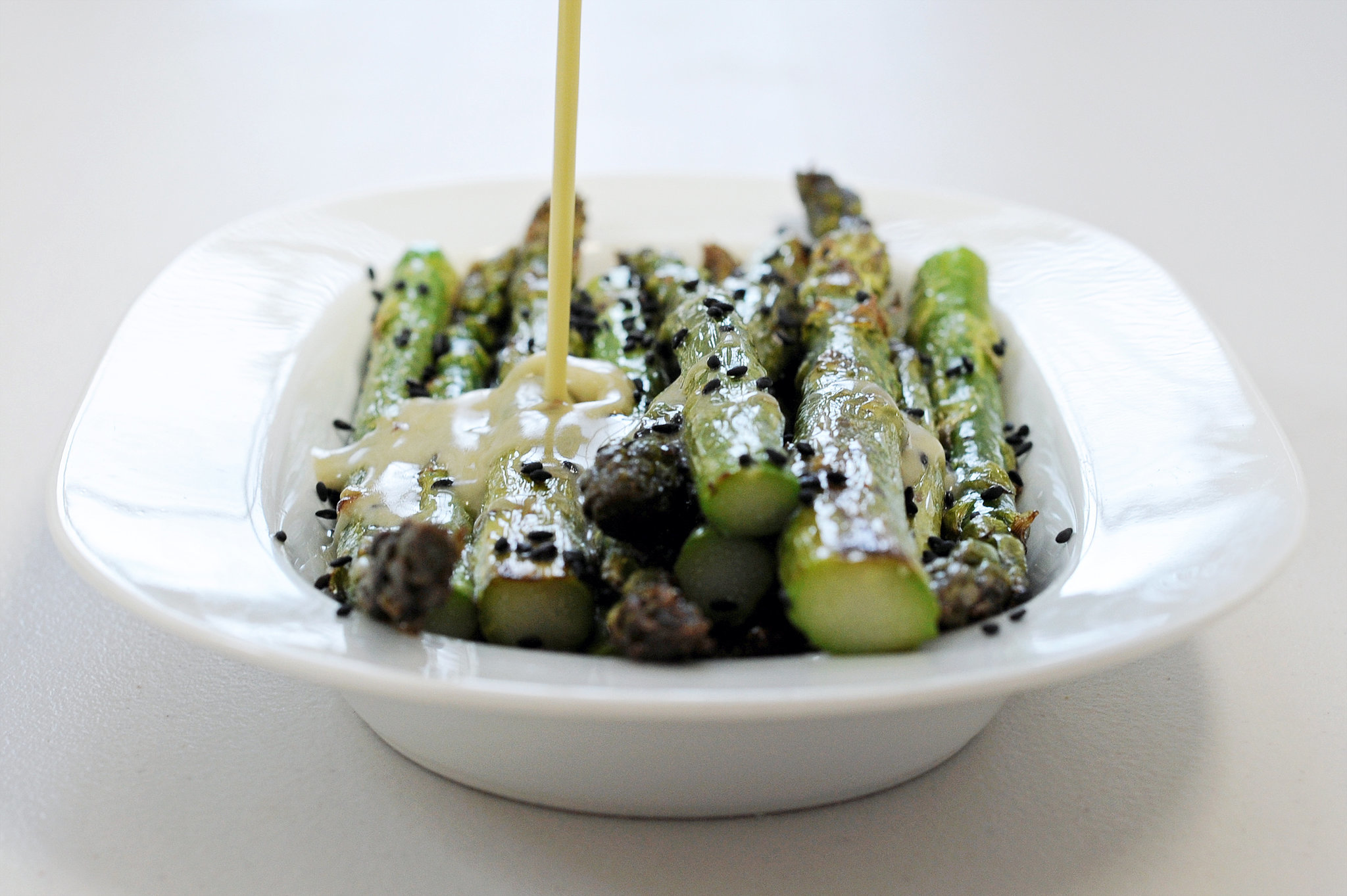 Roasted Asparagus With Sesame Wasabi Dressing