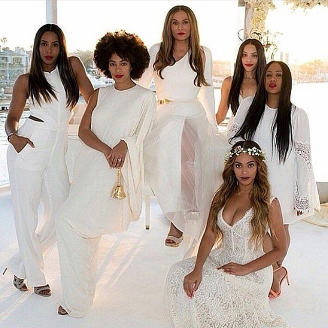 Beyoncé and Solange Knowles, along with Kelly Rowland and Bianca Lawson, acted as bridesmaids in Tina Knowles's April 2015 wedding to actor Richard Lawson.