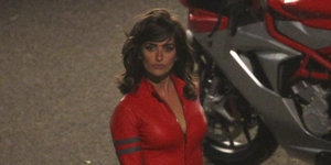 Penelope Cruz Spotted On The Set Of 'Zoolander 2' In Red Leather Jumpsuit