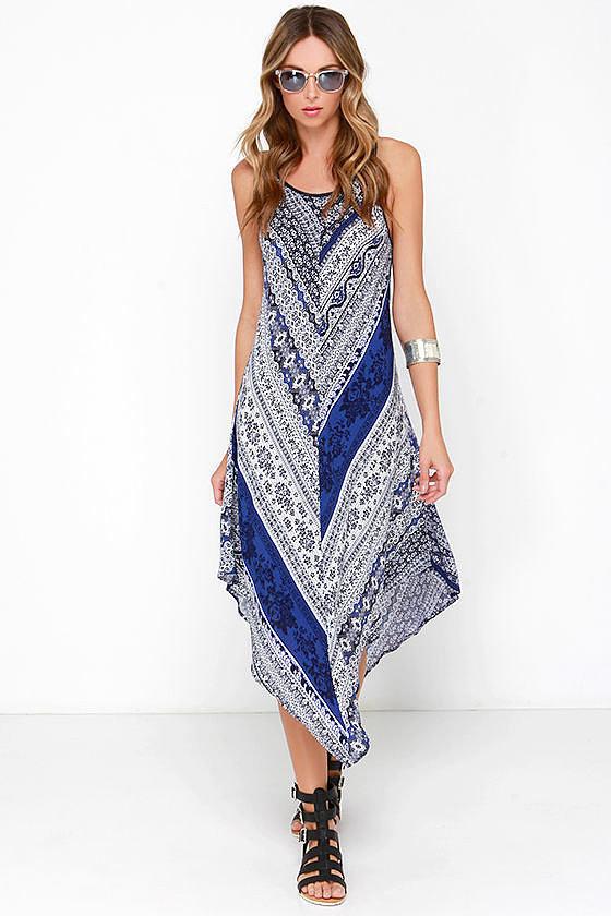Bohemian Queen Blue Print Midi Dress ($59)