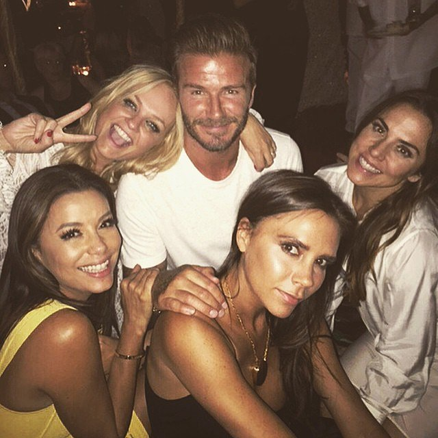 "The Beckhams got cute with Emma, Eva, and Melanie. ""Great to see these shy and retiring ladies,"" David joked in his Instagram post. ""Never a dull moment.""<br /><br /><br /><br />"