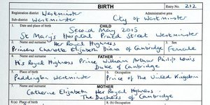 Princess Charlotte Elizabeth Diana's Birth Certificate Is Hard To Top
