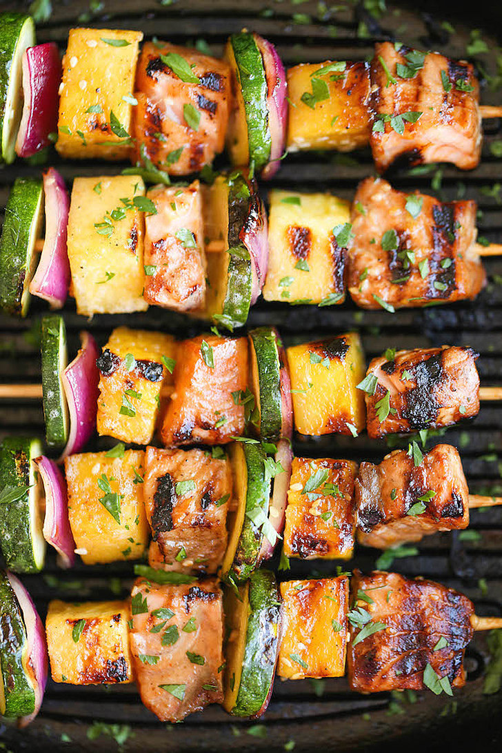 Asian Salmon and Veggie Kebabs