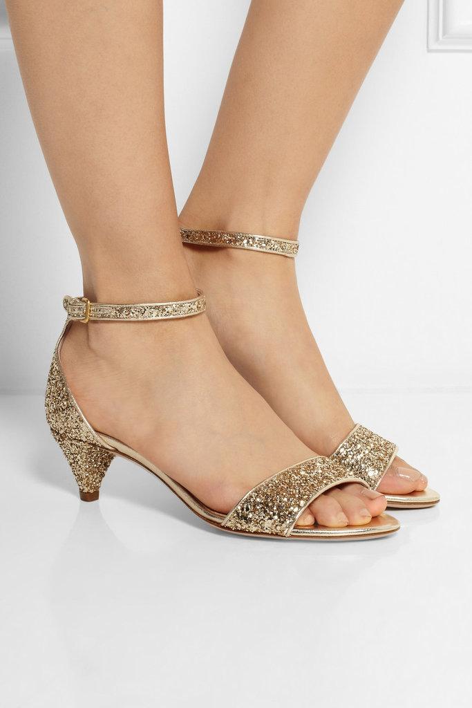 Miu Miu Glitter-Finished Leather Sandals