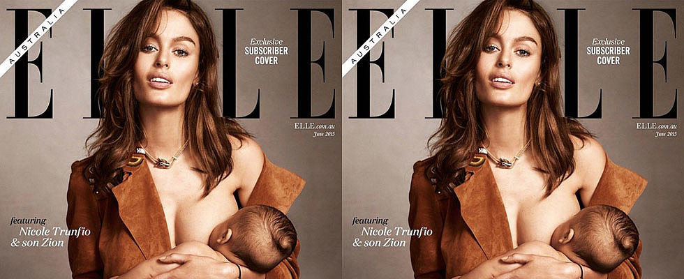 Going Global: Nicole Trunfio Breastfeeds Baby Zion on Groundbreaking Elle Cover